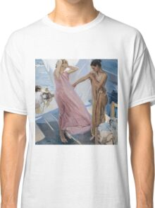 Joaquin Sorolla Y Bastida - After Bathing, Valencia 1909. Woman portrait: sensual woman, girly art, female style, pretty women, femine, beautiful dress, cute, creativity, love, sea, erotic pose Classic T-Shirt