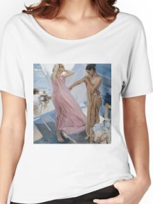 Joaquin Sorolla Y Bastida - After Bathing, Valencia 1909. Woman portrait: sensual woman, girly art, female style, pretty women, femine, beautiful dress, cute, creativity, love, sea, erotic pose Women's Relaxed Fit T-Shirt