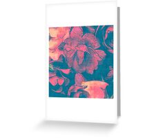 Rose Garden Blue 3- Texture Rose Study in red peach scarlet indigo Greeting Card