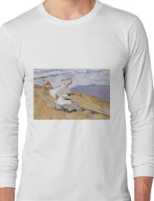 Joaquin Sorolla Y Bastida - Capturing The Moment 1906. Woman portrait: sensual woman, girly art, female style, Sea views, femine, beautiful dress, cute, creativity, love, sea, erotic pose Long Sleeve T-Shirt