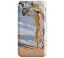 Joaquin Sorolla Y Bastida - The Horse's Bath 1909. Animal portrait: cute cat, horse, race, man hobby, running, Sea views, animal, racing mustang, hunt, sea, sport iPhone Case/Skin