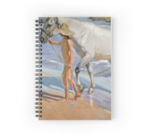 Joaquin Sorolla Y Bastida - The Horse's Bath 1909. Animal portrait: cute cat, horse, race, man hobby, running, Sea views, animal, racing mustang, hunt, sea, sport Spiral Notebook