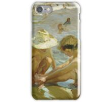 Joaquin Sorolla Y Bastida - The Wounded Foot 1909. Child portrait: cute baby, kid, children, Sea views, child, kids, lovely family, boys and girls, boy and girl, sea, childhood iPhone Case/Skin