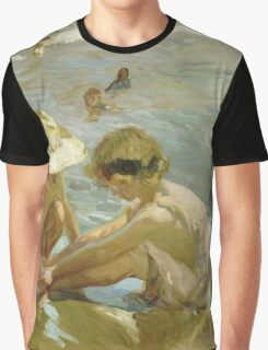Joaquin Sorolla Y Bastida - The Wounded Foot 1909. Child portrait: cute baby, kid, children, Sea views, child, kids, lovely family, boys and girls, boy and girl, sea, childhood Graphic T-Shirt
