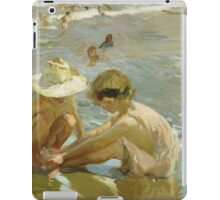 Joaquin Sorolla Y Bastida - The Wounded Foot 1909. Child portrait: cute baby, kid, children, Sea views, child, kids, lovely family, boys and girls, boy and girl, sea, childhood iPad Case/Skin