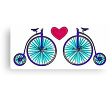 New age vintage bike blue love Canvas Print
