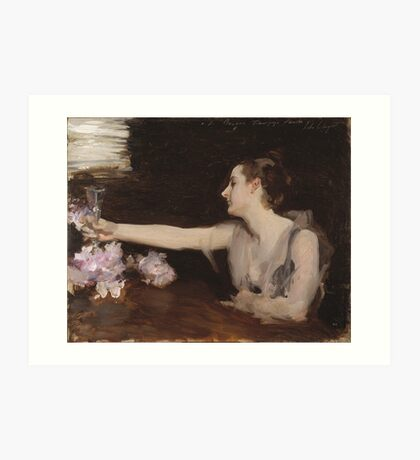 John Singer Sargent - Madame Gautreau Drinking A Toast. Woman portrait: sensual woman, girly art, female style, pretty women, femine, beautiful dress, cute, creativity, love, sexy lady Art Print