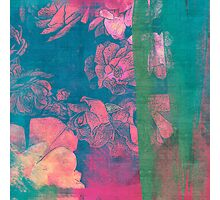 Rose Garden Blue 5- Texture Rose Study in red emerald green scarlet indigo watercolor wash Photographic Print