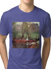 John Singer Sargent - A Boating Party. Lake landscape: trees, river, land, forest, coast seaside, waves and beach, marine naval navy, lagoon reflection, sun and clouds, nautical panorama, lake Tri-blend T-Shirt
