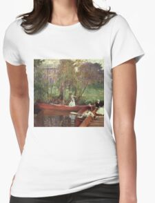 John Singer Sargent - A Boating Party. Lake landscape: trees, river, land, forest, coast seaside, waves and beach, marine naval navy, lagoon reflection, sun and clouds, nautical panorama, lake Womens Fitted T-Shirt