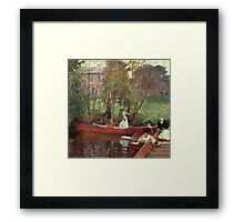 John Singer Sargent - A Boating Party. Lake landscape: trees, river, land, forest, coast seaside, waves and beach, marine naval navy, lagoon reflection, sun and clouds, nautical panorama, lake Framed Print