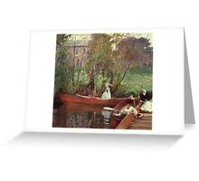 John Singer Sargent - A Boating Party. Lake landscape: trees, river, land, forest, coast seaside, waves and beach, marine naval navy, lagoon reflection, sun and clouds, nautical panorama, lake Greeting Card