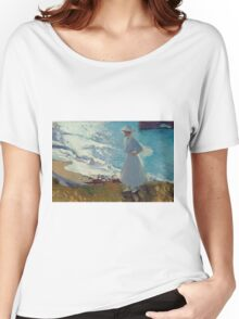 Joaquin Sorolla Y Bastida - Maria On The Beach At Biarritz Or Contre-Jour. Woman portrait: sensual girly art, female style, Sea views, femine, beautiful dress, cute, creativity, love, sea, erotic pose Women's Relaxed Fit T-Shirt