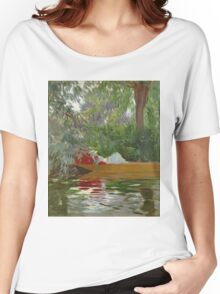 John Singer Sargent - Under The Willows. Lake landscape: trees, river, land, forest, coast seaside, waves and beach, marine naval navy, lagoon reflection, sun and clouds, nautical panorama, lake Women's Relaxed Fit T-Shirt