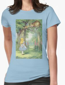John Tenniel - Alice And The Cheshire Cat, Illustration From  Alice In Wonderland. Cat portrait: cute cat, kitten, kitty, cats, pets, wild life, animal, smile, little, kids, baby Womens Fitted T-Shirt