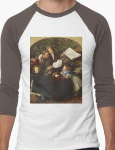 John Everett Millais - Peace Concluded. Family portrait: father and son, mother and daughter, female and male, dad daddy, child baby, beautiful dress, lovely family, mothers day, memory, mom, friends Men's Baseball ¾ T-Shirt
