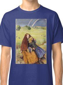 John Everett Millais - The Blind Girl 1854. Girl portrait: cute girl, girly, female, pretty angel, child, beautiful dress, face with hairs, smile, little, kids, baby Classic T-Shirt
