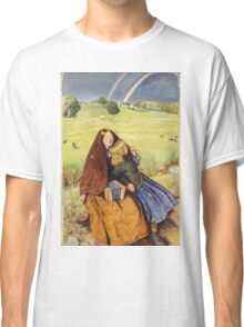 John Everett Millais - The Blind Girl 1854. Girl portrait: cute girl, girly, female, pretty angel, child, beautiful dress, face with hairs, smile, little, kids, baby Classic T-Shirt