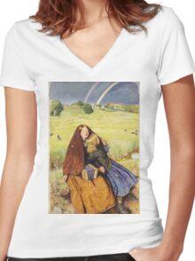 John Everett Millais - The Blind Girl 1854. Girl portrait: cute girl, girly, female, pretty angel, child, beautiful dress, face with hairs, smile, little, kids, baby Women's Fitted V-Neck T-Shirt
