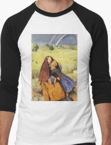 John Everett Millais - The Blind Girl 1854. Girl portrait: cute girl, girly, female, pretty angel, child, beautiful dress, face with hairs, smile, little, kids, baby Men's Baseball ¾ T-Shirt