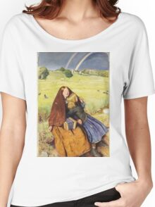 John Everett Millais - The Blind Girl 1854. Girl portrait: cute girl, girly, female, pretty angel, child, beautiful dress, face with hairs, smile, little, kids, baby Women's Relaxed Fit T-Shirt
