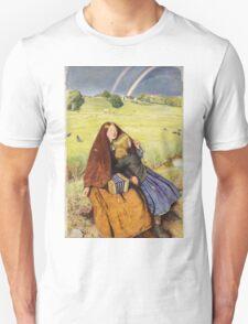 John Everett Millais - The Blind Girl 1854. Girl portrait: cute girl, girly, female, pretty angel, child, beautiful dress, face with hairs, smile, little, kids, baby Unisex T-Shirt