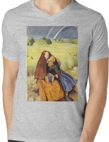 John Everett Millais - The Blind Girl 1854. Girl portrait: cute girl, girly, female, pretty angel, child, beautiful dress, face with hairs, smile, little, kids, baby Mens V-Neck T-Shirt