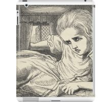 John Tenniel - Alice Grows Too Tall For The Room, From  Alice S Adventures In Wonderland. Girl portrait: cute girl, girly, female, pretty angel, child, beautiful dress, smile, little, kids, baby iPad Case/Skin