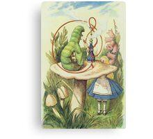 John Tenniel - Alice Meets The Caterpillar, Illustration From  Alice In Wonderland. Girl portrait: cute girl, girly, female, pretty angel, child, beautiful dress, smile, little, kids, baby Canvas Print