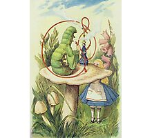 John Tenniel - Alice Meets The Caterpillar, Illustration From  Alice In Wonderland. Girl portrait: cute girl, girly, female, pretty angel, child, beautiful dress, smile, little, kids, baby Photographic Print