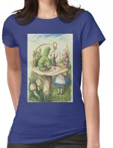 John Tenniel - Alice Meets The Caterpillar, Illustration From  Alice In Wonderland. Girl portrait: cute girl, girly, female, pretty angel, child, beautiful dress, smile, little, kids, baby Womens Fitted T-Shirt