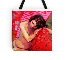 Nude on Red Tote Bag