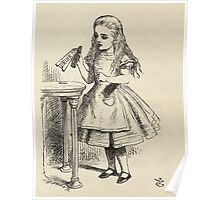 John Tenniel - Alice Peering At The Drink Me Bottle, From  Alice S Adventures In Wonderland. Girl portrait: cute girl, girly, female, pretty angel, child, smile, little, kids, baby Poster