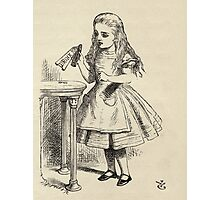 John Tenniel - Alice Peering At The Drink Me Bottle, From  Alice S Adventures In Wonderland. Girl portrait: cute girl, girly, female, pretty angel, child, smile, little, kids, baby Photographic Print