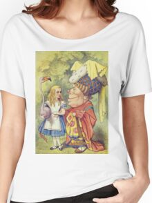 John Tenniel - Alice With The Duchess, Illustration From  Alice In Wonderland. Girl portrait: cute girl, girly, female, pretty angel, child, beautiful dress, face with hairs, smile, little, kids, baby Women's Relaxed Fit T-Shirt
