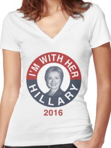 I'm With Her Hillary Clinton 2016 T-Shirt Women's Fitted V-Neck T-Shirt