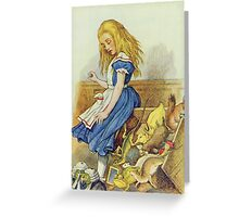 John Tenniel - Alice Upsets The Jury-Box, Illustration From  Alice In Wonderland. Girl portrait: cute girl, girly, female, pretty angel, child, beautiful dress, smile, little, kids, baby Greeting Card