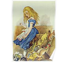John Tenniel - Alice Upsets The Jury-Box, Illustration From  Alice In Wonderland. Girl portrait: cute girl, girly, female, pretty angel, child, beautiful dress, smile, little, kids, baby Poster
