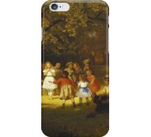 John George Brown - Picnic Party In The Woods. Female child portrait: cute baby, kid, children, pretty angel, child, kids, lovely family, boys and girls, boy and girl, mom mum mammy mam, childhood iPhone Case/Skin