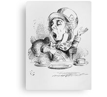 John Tenniel - The Mad Hatter S Tea Party, Illustration From  Alice In Wonderland. Picnic painting: picnic time, man woman, holiday, people, family, travel, garden, outdoor meal, eating food, picnic Canvas Print