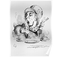 John Tenniel - The Mad Hatter S Tea Party, Illustration From  Alice In Wonderland. Picnic painting: picnic time, man woman, holiday, people, family, travel, garden, outdoor meal, eating food, picnic Poster