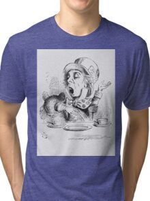 John Tenniel - The Mad Hatter S Tea Party, Illustration From  Alice In Wonderland. Picnic painting: picnic time, man woman, holiday, people, family, travel, garden, outdoor meal, eating food, picnic Tri-blend T-Shirt