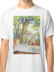 John Tenniel - Tea Party From  Alice S Adventures In Wonderland . Picnic painting: picnic time, holiday, people, family, travel, garden, outdoor meal, eating food, nautical panorama, picnic Classic T-Shirt