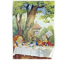 John Tenniel - Tea Party From  Alice S Adventures In Wonderland . Picnic painting: picnic time, holiday, people, family, travel, garden, outdoor meal, eating food, nautical panorama, picnic Poster
