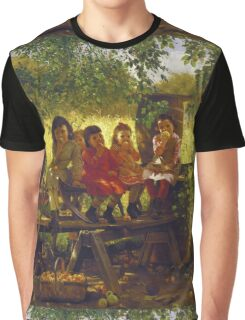 John George Brown - The Cider Mill. Female child portrait: cute girl, girly, female, pretty angel, child, beautiful dress, face with hairs, smile, little, kids, baby Graphic T-Shirt
