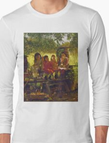 John George Brown - The Cider Mill. Female child portrait: cute girl, girly, female, pretty angel, child, beautiful dress, face with hairs, smile, little, kids, baby Long Sleeve T-Shirt