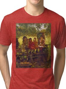 John George Brown - The Cider Mill. Female child portrait: cute girl, girly, female, pretty angel, child, beautiful dress, face with hairs, smile, little, kids, baby Tri-blend T-Shirt