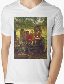 John George Brown - The Cider Mill. Female child portrait: cute girl, girly, female, pretty angel, child, beautiful dress, face with hairs, smile, little, kids, baby Mens V-Neck T-Shirt