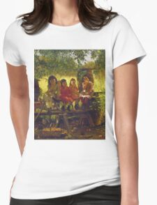 John George Brown - The Cider Mill. Female child portrait: cute girl, girly, female, pretty angel, child, beautiful dress, face with hairs, smile, little, kids, baby Womens Fitted T-Shirt