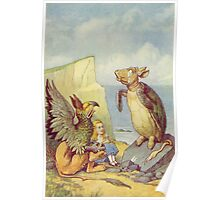 John Tenniel - The Mock Turtle And The Gryphon, Illustration From  Alice In Wonderland. Insects painting: cute bee, fly, bugs, lucky, pets, wild life, animal, butterfly, little small, insects, nature Poster